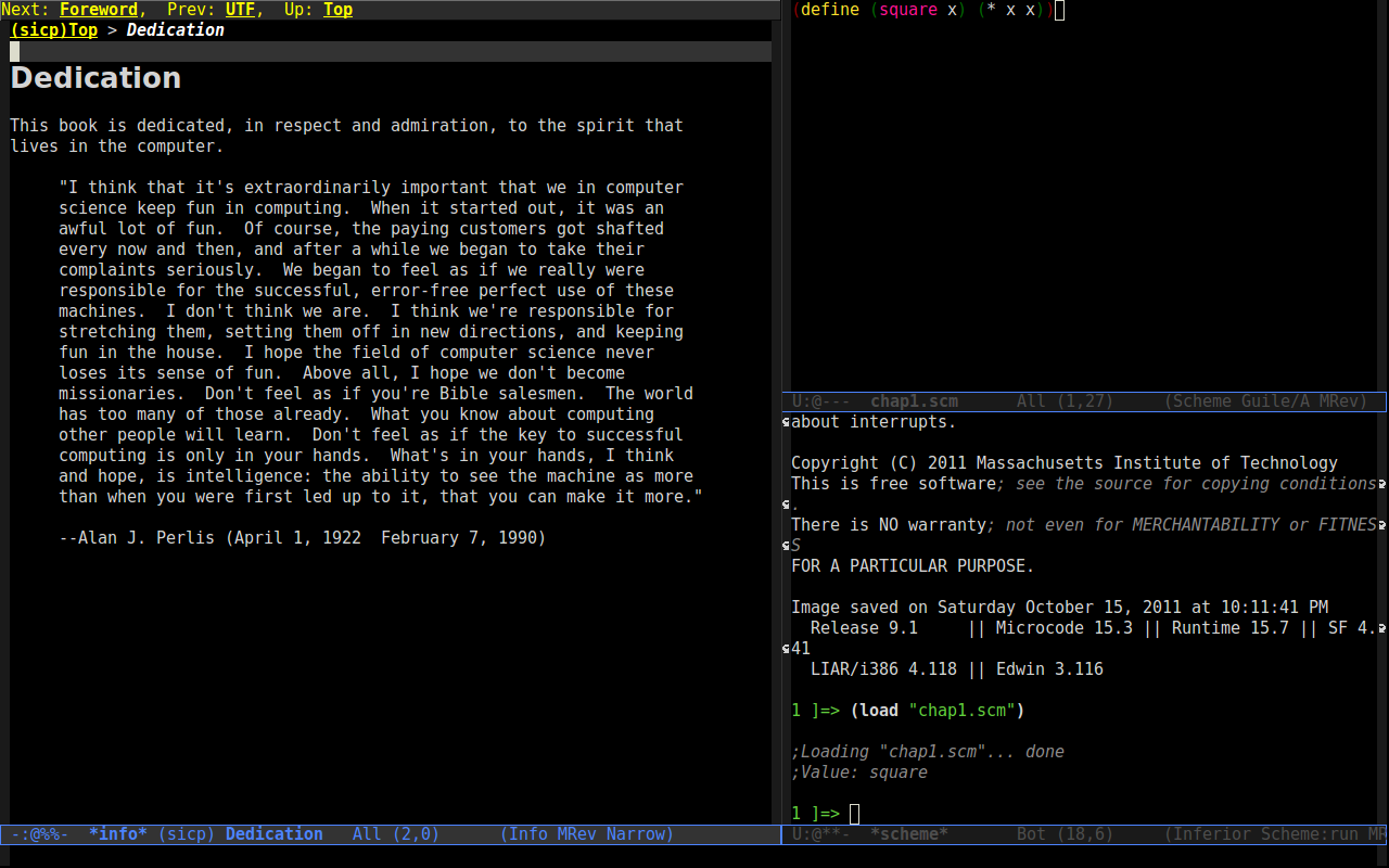 A screenshot of Emacs with three frames: sicp, a source code file and a scheme REPL